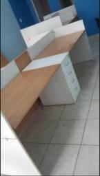 Estação de trabalho dupla com gaveteiro!