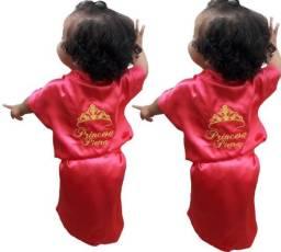 Robe de Cetim Infantil Feminino Bordado Personalizado Coroa com Princesa Pietra