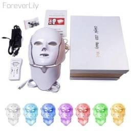 Máscara de LED - Facial + Pescoço com 7 Cores e pulso Magnético Micropigmentação Estética