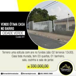 Vendo Casa 3/4 com 02 Terreno de 12x30 Cidade Verde em Cuiabá