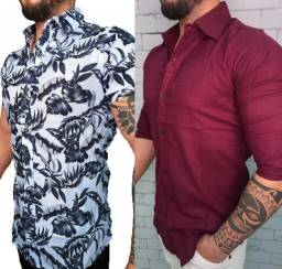 Kit 2 camisas social masculina slim fit.