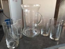Jogo jarra de suco de cristal com 4 copos