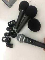 Kit com 3 Microfones Profissionais LM-1800 KIT Lexsen