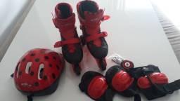 Patins 3 rodas lady bug infantil