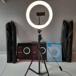 Ring Light completo de 26cm e Tripé 2,1m