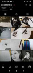 Faço e vendo desenhos realistas de retratos de pessoas