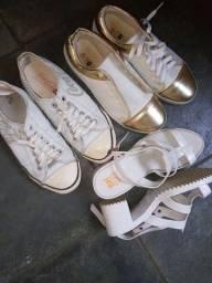 Brechó 3 sapatos 2 tênis e 1 sandália