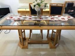 Mesa para 6 lugares /balcao e espelho , com base em madeira maciça e tampo de vidro