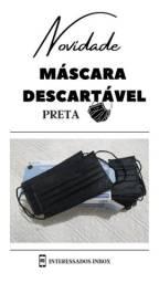 Máscara Descartável PRETA Tripla Camada Caixa C/ 50 Un
