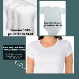 Camisas, Blusa Baby Look, Body infantil todos 100% poliéster para sublimação