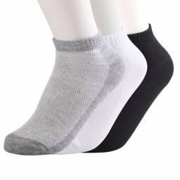 Kit 12 pares meias soquetes lisas cores variadas unissex algodão