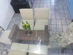 Mesa se vidro toda Boa cadeira Boa