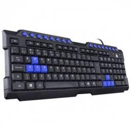 Teclado Usb Gamer VX Gaming Dragon V2 Abnt2 1.8m Preto c/ Azul/Vermelho - GT100