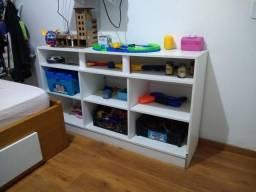 Bicama com escrivaninha, suporte para teclado, nichos, colchões, gavetas e rack