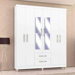 Título do anúncio: Roupeiro Incorplac Moscou 6 portas 2 gavetas (Branca) Com Espelho