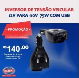 Inversor de tensão veicular 12v para 110v  75w com USB ? Entrega grátis