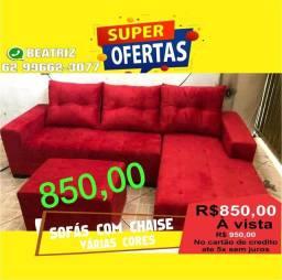sofá com chaise vermelho