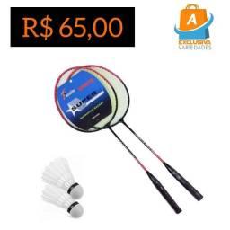 Kit Badminton Infantil 2 Raquetes e 2 Petecas + Entrega Grátis