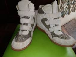 Tênis Sneaker Bege com Gliter da Pissarty - Tamanho 39