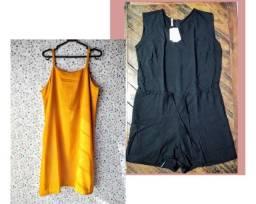 Combo vestido mostarda + macaquito preto.