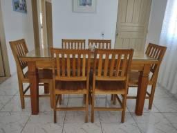 Mesa para sala de Jantar - 6 cadeiras  - Madeira Bruta