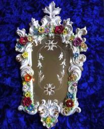 Espelho cristal com moldura de porcelana