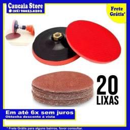 """Suporte Boina 125mm(5"""") + 20 Lixas"""