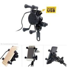Suporte / carregador para moto USB suporte celular resistente