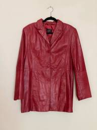 Casaco de couro legítimo, vermelho, feminino