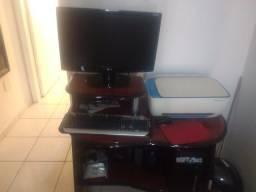 Computador, impressora, rack