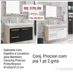 Gabinete com espelho e lavatório para banheiro