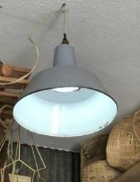 Luminária Esmaltada Industrial Antiga