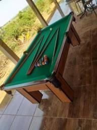Mesa Charme de Sinuca e Jantar Cor Imbuia Tecido Verde Mod. JDVG3519