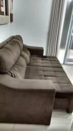 Sofá 4 lugares retrátil, reclinável em Suede