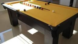 Mesa de Bilhar e Sinuca Preta Tx Tecido Amarelo Modelo SD2467