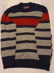 Casaco tricô listrado G infantil 12 anos, como novo