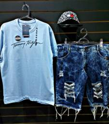 Kit Camiseta Bermuda Jeans e Boné
