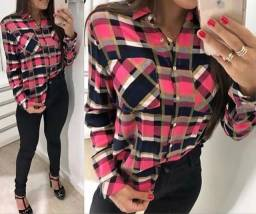 Kit 3 camisas xadrez feminina em viscose blusa top