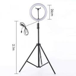 Ring Light 26cm + Tripé de 2,10metros
