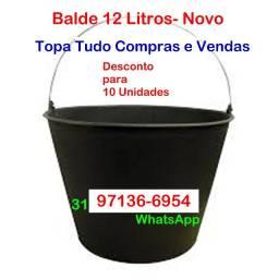 Balde Concreto-Plastico- 12 Litros- Novo- Barreiro BH MG