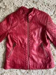 Jaqueta material sintético vermelha