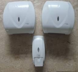2 conjutos dispenser toalha sabonete álcool