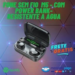 Fone Sem Fio  M5 - Com Power Bank- Resistente a Água Entrega Grátis!!