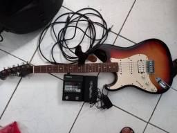 Guitarra com pedaleira