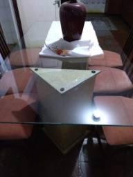 Mesa de Jantar, Tampo de Vidro 10 mm, 6 cadeiras