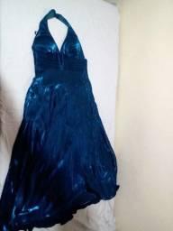 Vestido longo de festa azul petróleo