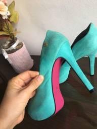 Sapato peep toe Azul usado aprendas 1 vez
