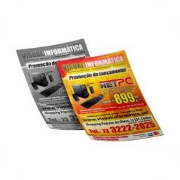 Mega promoção panfleto 10x15, frente colorida e verso preto e branco