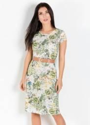 Vestido com Gola Redonda Floral e Verde - Rosalie