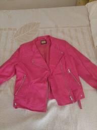 Jaqueta de couro sintético rosa